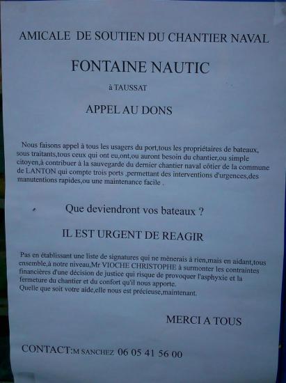Amicale de soutien au chantier naval Fontaine Nautic