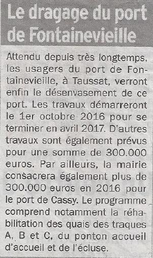 20160108 la depeche du bassin desenvasement du port de fontainevieille
