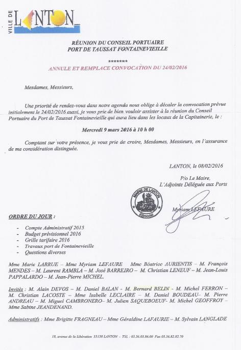 20160309 convocation Conseil Portuaire Fontainevieille