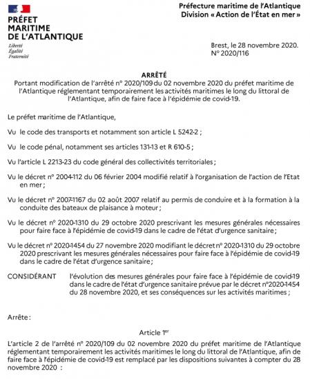 20201102 arrete prefet maritime page 1